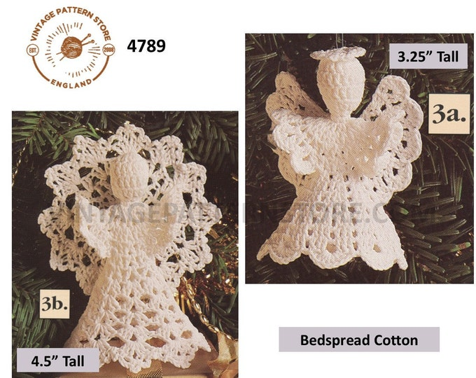"90s vintage crochet angel Christmas tree topper decoration ornament pdf crochet pattern 4 designs to make 3.25"" and 4.5"" tall Download 4789"