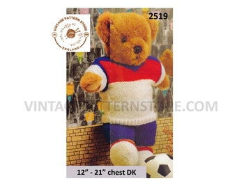"""90s vintage DK footballer teddy bear clothes football kit pdf knitting pattern 12"""" to 21"""" chest Instant PDF download 2519"""