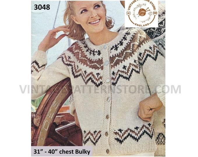 """Womens Ladies 80s vintage round neck fair isle yoke yoked raglan cardigan jacket pdf knitting pattern 31"""" to 40"""" chest PDF Download 3048"""