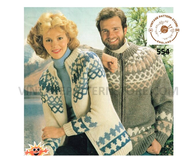 "Ladies Womens Mens 90s fair isle yoke yoked crew neck chunky knit raglan cardigan jacket pdf knitting pattern 32"" to 42"" chest Download 554"