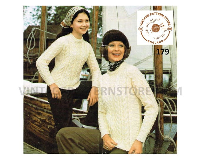 """Ladies Womens Girls 80s vintage crew neck cable cabled raglan aran sweater jumper pdf knitting pattern 26"""" to 38"""" Instant PDF download 179"""