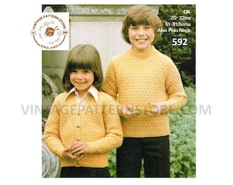 """Boys Girls Childrens 80s vintage textured raglan cardigan & round neck sweater jumper knitting pattern 20"""" - 32"""" chest PDF Download 592"""