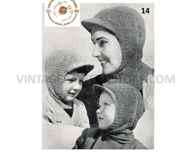 Boys Girls Ladies Mens 50s family simple & easy to knit peaked and plain 3 ply balaclava helmet pdf knitting pattern Instant PDF download 14