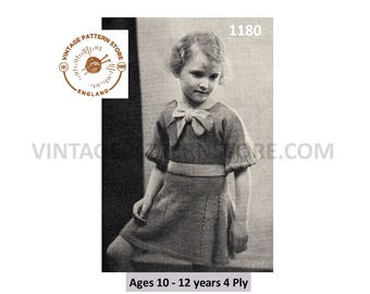 Girls 1930s, short sleeve, lacy striped, bow neck party dress - ages 10 -  12 years - Vintage PDF Knitting Pattern 1180