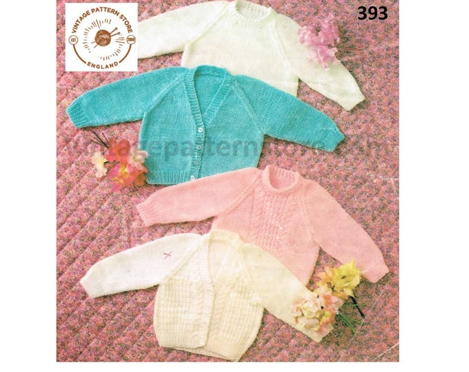 "Baby Babies 80s vintage DK V or round neck plain easy to knit & cable raglan cardigan sweater pdf knitting pattern 16"" to 20"" Download 393"