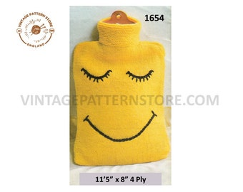 80s vintage quick fun simple and easy to knit novelty bazaar 4 ply hot water bottle cover PDF knitting pattern Instant PDF download 1654