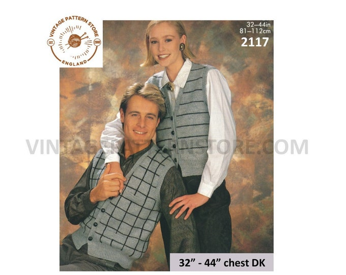 """Ladies Womens Mens 90s V neck check or striped DK waistcoat pdf knitting pattern 32"""" to 44"""" chest Instant PDF Download 2117"""