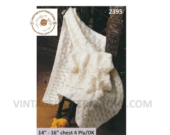 """Premature Preemie Baby Babies DK & 4 ply layette matinee coat jacket booties bootees shawl pdf knitting pattern 14"""" to 16"""" PDF download 2395"""