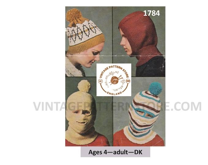 Ladies Womens Mens Boys Girls 60s vintage DK face mask balaclava gimp mask and fair isle hat cap pdf knitting pattern Instant Download 1784