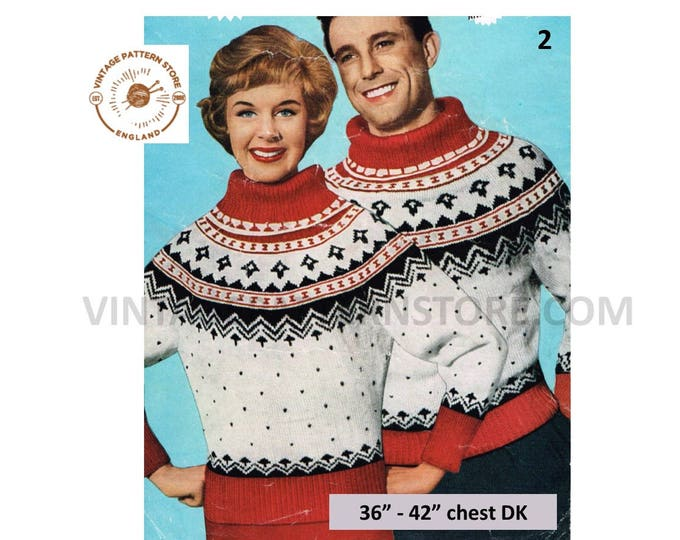 "Ladies Womens Mens 50s vintage polo neck fair isle yoke yoked DK dolman Christmas sweater jumper pdf knitting pattern 36"" to 42"" Download 2"