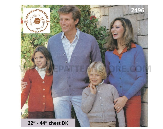 """Family Ladies Womens Mens Boys Girls 90s easy to knit V or round neck DK raglan cardigan pdf knitting pattern 22"""" to 44"""" chest Download 2496"""