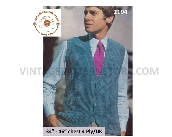 "Mens Mans 80s vintage plain and simple easy to knit 4 ply or DK waistcoat knitting pattern 34"" to 46"" Instant PDF download 2194"