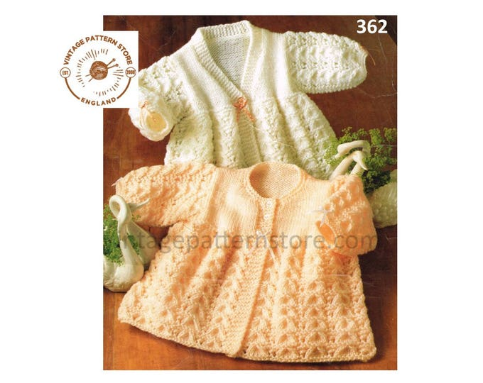 """Premature Preemie Baby Babies 90s DK V or round neck cable cabled raglan matinee coat jacket pdf knitting pattern 14"""" to 18"""" download 362"""
