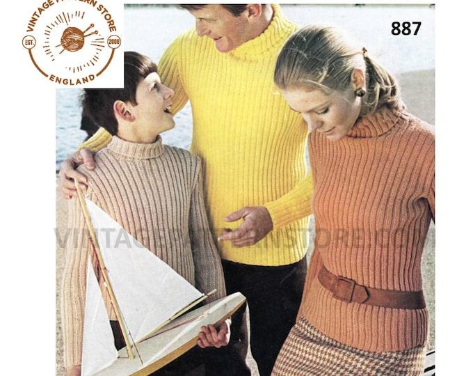 "Womens Mens Boys Girls 70s family ribbed skinny rib polo or turtleneck DK raglan sweater jumper pdf knitting pattern 34"" to 40"" Download 887"