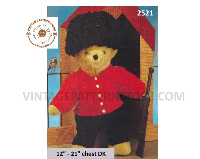 "90s DK Teddy bear clothes Buckingham Palace royal guardsman soldiers outfit pdf knitting pattern 12"" to 21"" chest Instant PDF download 2521"