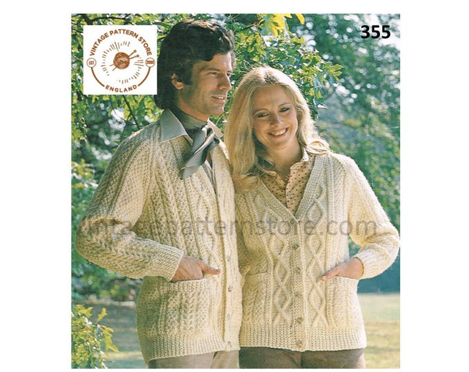"""Ladies Womens Mens Mans 90s V neck cable cabled raglan aran cardigan pdf knitting pattern 34"""" to 44"""" chest Instant PDF Download 355"""