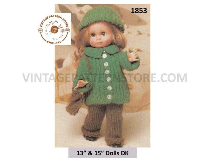 "80s Vintage 13"" 15"" DK Dolls clothes trouser suit jacket shoulder bag cap hat pdf knitting pattern Instant PDF download 1853"