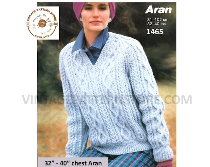 """Ladies Womens 90s V neck cable cabled raglan aran sweater jumper pdf knitting pattern 32"""" to 40"""" chest Instant PDF download 1465"""