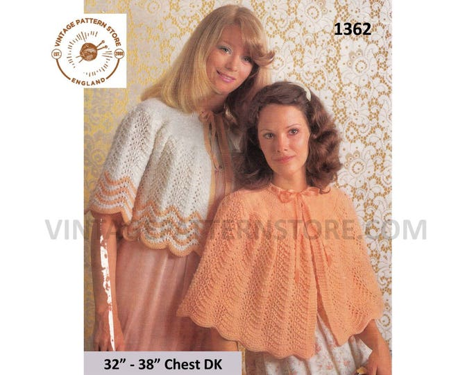 """Ladies Womens 70s vintage lacy round neck DK ribbon bed jacket and bed cape pdf knitting pattern 32"""" to 38"""" chest Instant PDF Download 1362"""