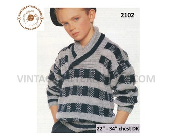 """Boys 90s crossover shawl collar drop shoulder dolman DK check sweater jumper pdf knitting pattern 22"""" to 34"""" chest PDF Download 2102"""