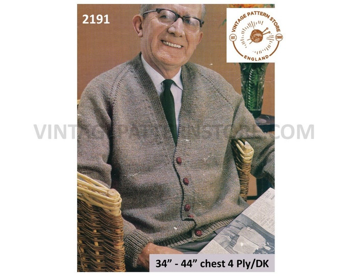 "Mens Mans Grandfather 70s vintage simple and easy to knit V neck 4 ply or DK raglan cardigan pdf knitting pattern 34"" to 44"" Download 2191"