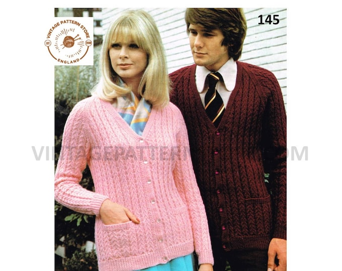 """Ladies Womens Mens Mans 80s vintage V neck cable cabled raglan DK cardigan pdf knitting pattern 32"""" to 42"""" chest Instant PDF Download 145"""