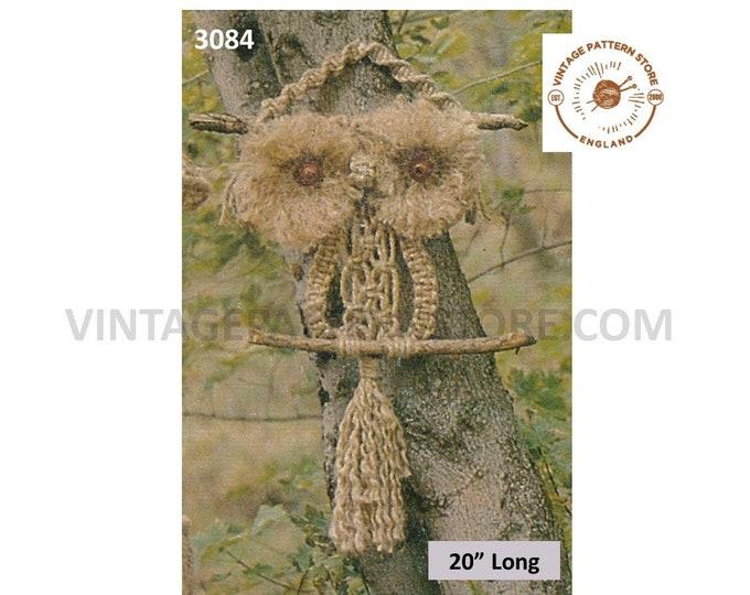 "70s vintage retro easy to make macrame owl wall hanging pdf macrame pattern 20"" Long Instant PDF download 3084"