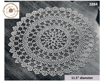 """30s vintage circular round tatted lace lacy doily doilies pdf tatting pattern 11.5"""" diameter Instant PDF Download 2884"""