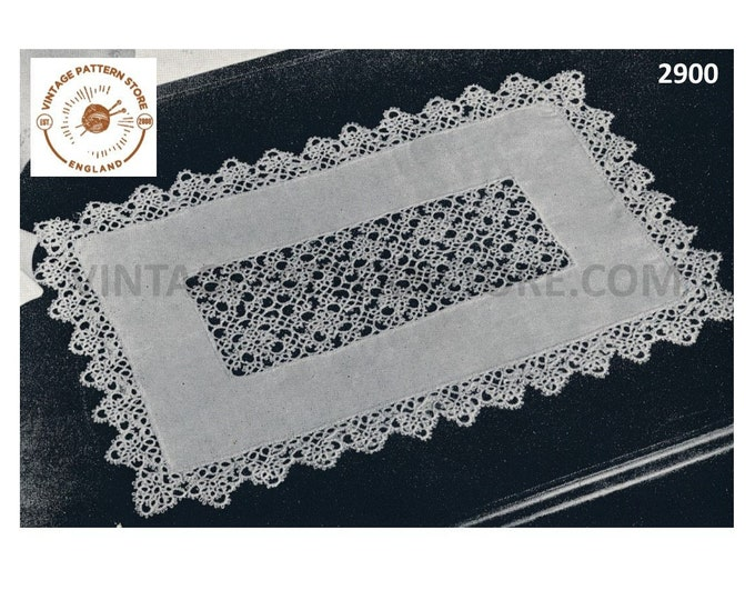 50s Vintage rectangular linen tatted inset lace and edging doily doilies pdf tatting pattern Instant PDF Download 2900