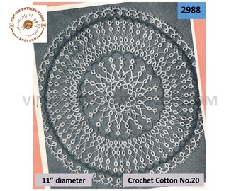"""30s vintage circular round tatted lace lacy doily doilies pdf tatting pattern 11"""" diameter Instant PDF Download 2988"""