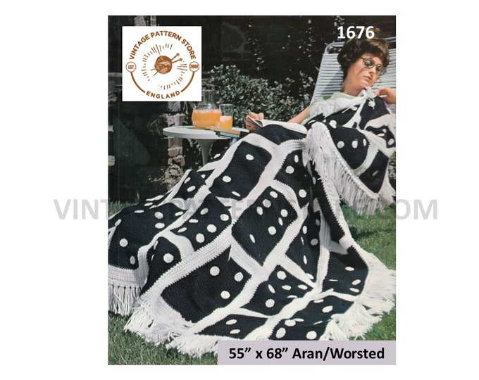 """70s vintage domino patterned fringed aran afghan throw pdf crochet pattern 55"""" by 68"""" Instant PDF download 1676"""