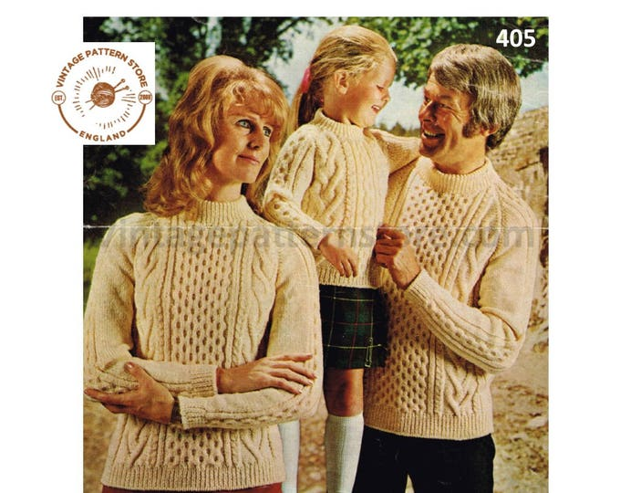 """Ladies Womens Mens Boys Girls 80s family crew neck cable cabled raglan aran sweater jumper pdf knitting pattern 24"""" to 42"""" Download 405"""