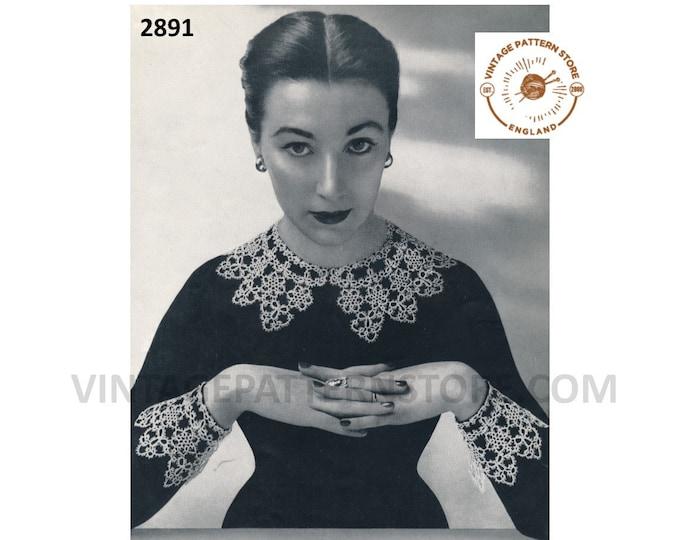 PDF tatting pattern, 30s lace collar & cuffs tatting patterns, Tatted lace 1930s collar and cuffs pattern - PDF Download 2891