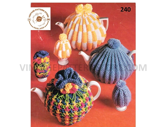 70s vintage retro easy to knit fluted floral and rib ribbed egg and tea cosy pdf knitting pattern Instant PDF download 240