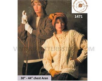 "Girls ladies, crew neck, cabled, vertical pocket, aran bodywarmer & jacket - 30"" - 44"" chest - Vintage PDF Knitting Pattern 1471"