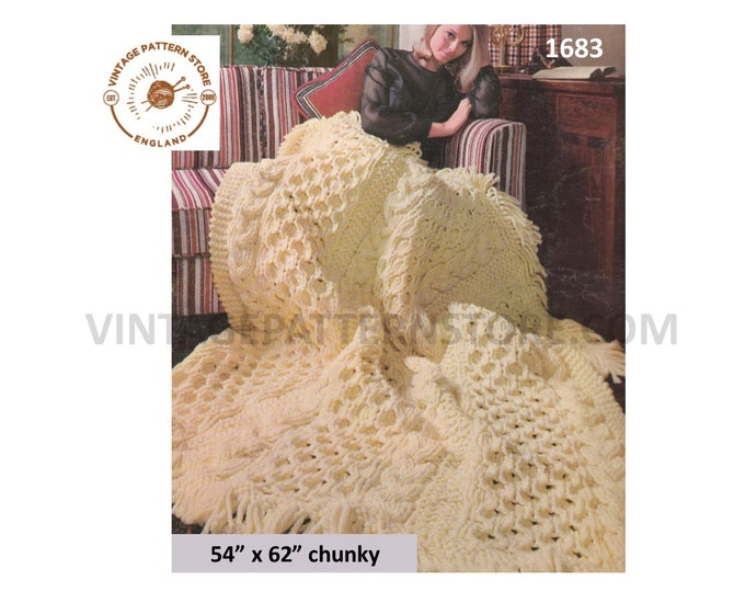 "70s vintage chunky knit cable cabled and fringed afghan throw pdf knitting pattern 54"" by 62"" Instant PDF download 1683"