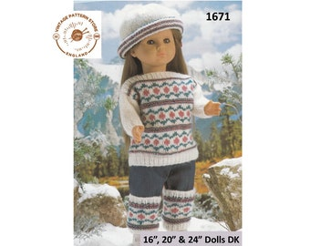 """16"""" 20"""" and 24"""" dolls clothes fair isle slash neck sweater, cap hat and leg warmers in DK - Vintage PDF Knitting Pattern 1671"""