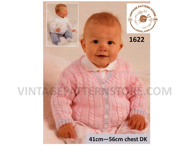 Baby Babies 90s DK V neck cable cabled drop shoudler raglan sweater jumper and cardigan pdf knitting pattern 41cm to 56cm Download 1622