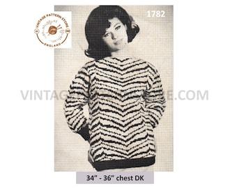 "Ladies 1960s slash neck, zebra print fair isle, drop shoulder, sweater jumper in DK - 34"" - 36"" chest - Vintage PDF Knitting Pattern 1782"