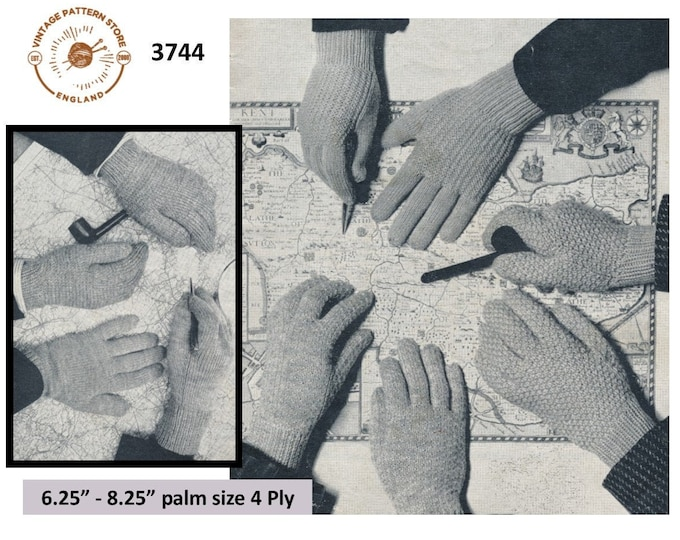 Mens Mans 50s vintage 4 ply gloves pdf knitting pattern with 5 designs to knit various sizes Instant PDF download 3744