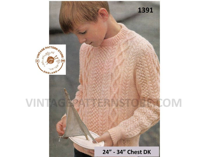 """Boys 60s vintage DK crew neck cable cabled raglan sweater jumper pullover pdf knitting pattern 24"""" to 34"""" chest Instant PDF Download 1391"""