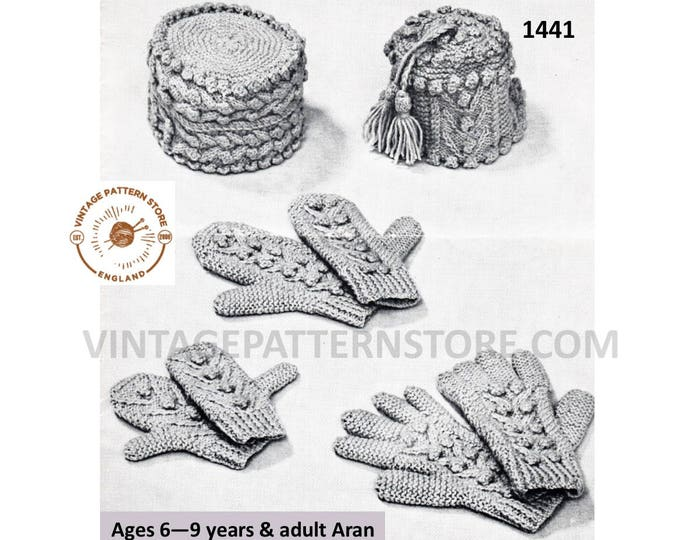 Ladies Mens Boys Girls 50s Family cable aran hat gloves mittens pdf knitting pattern ages 6 to 9 years & adult Instant PDF download 1441