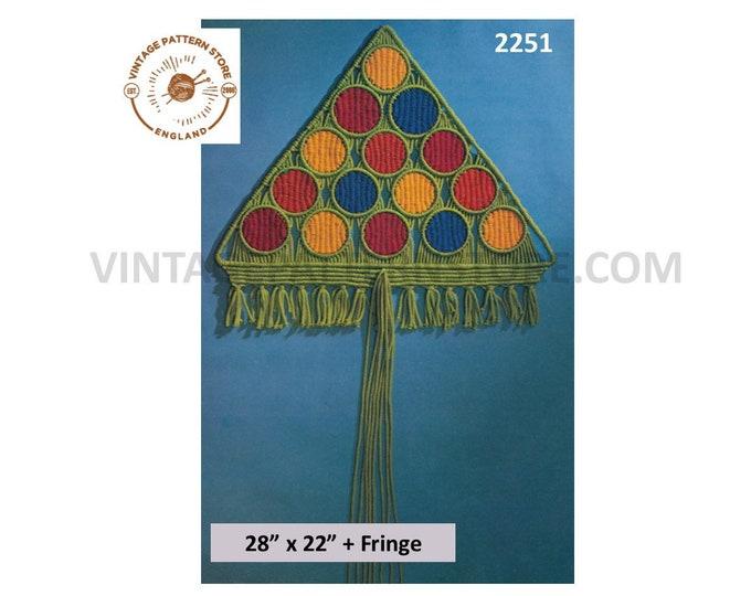 70s vintage macrame Christmas tree wall hanging decoration ornament pdf macrame pattern Instant PDF download 2251