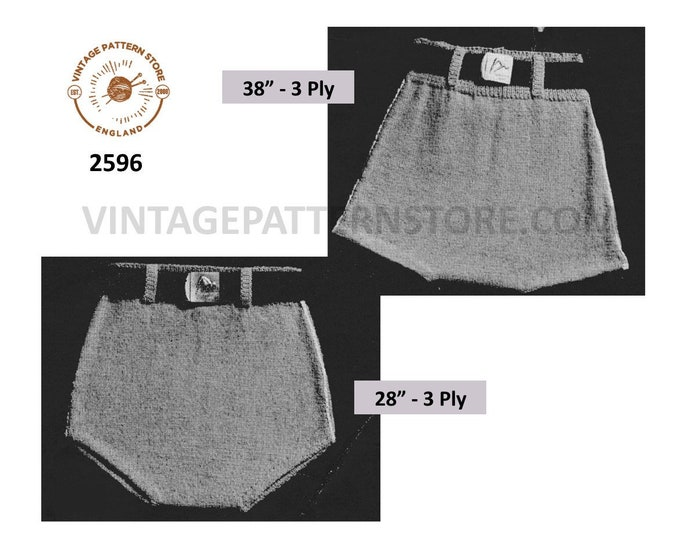 """Mens Mans 40s vintage easy to knit 3 ply swimming costume bathing suit swim trunks pdf knitting pattern 28"""" & 38"""" waist PDF download 2596"""