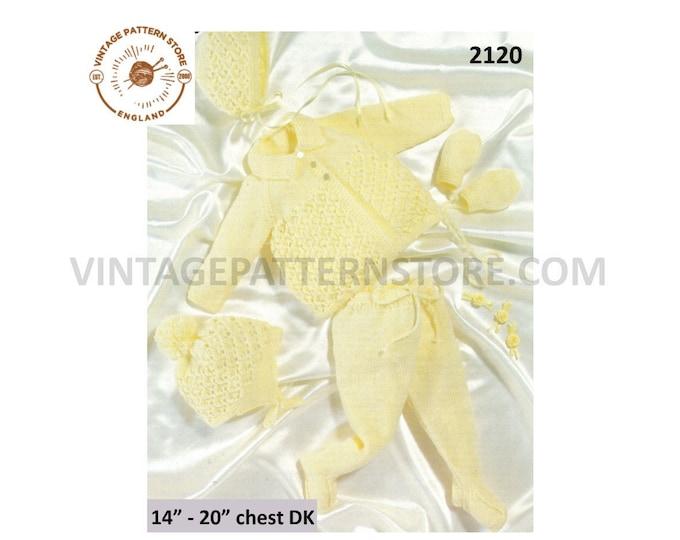"Premature Preemie Baby Babies pram set matinee coat jacket leggings bonnet mittens helmet pdf knitting pattern 14"" to 20"" PDF Download 2120"