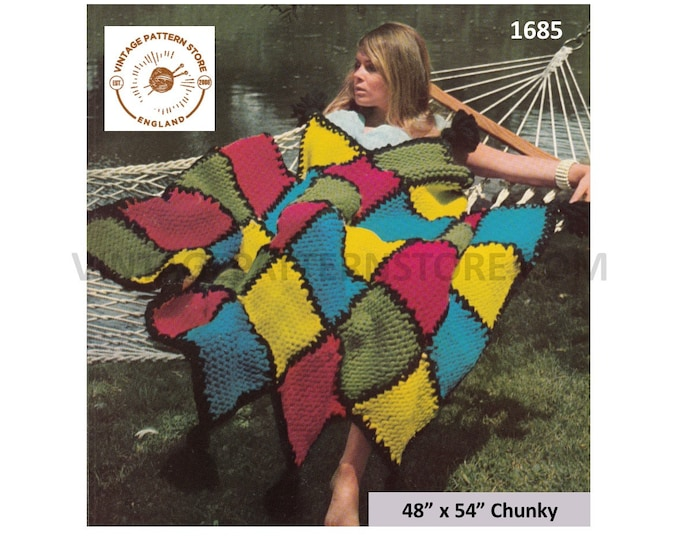 """70s vintage easy to knit multi coloured check patterned chunky knit afghan throw pdf knitting pattern 48"""" by 54"""" Instant PDF download 1685"""