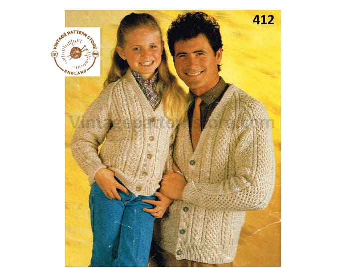"""Ladies Womens Mens Girls Boys 90s family V neck cable cabled raglan aran cardigan jacket pdf knitting pattern 28"""" to 40"""" chest Download 412"""