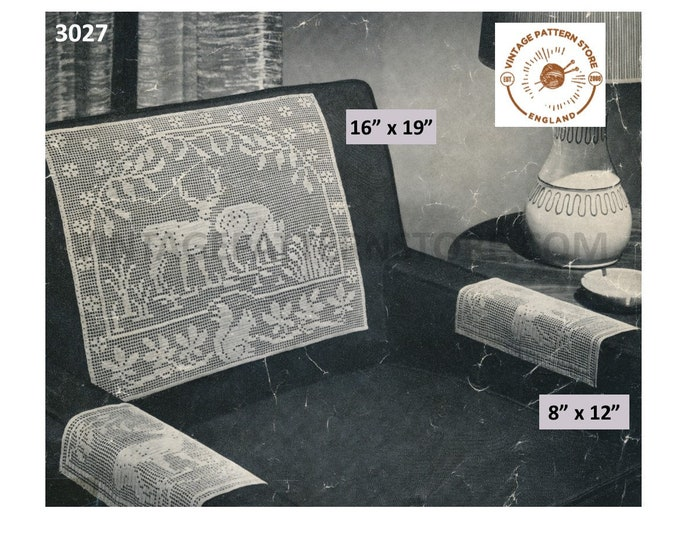 50s vintage lacy lace forest scene settee and chair back arm rest covers protectors pdf crochet pattern Instant PDF download 3027