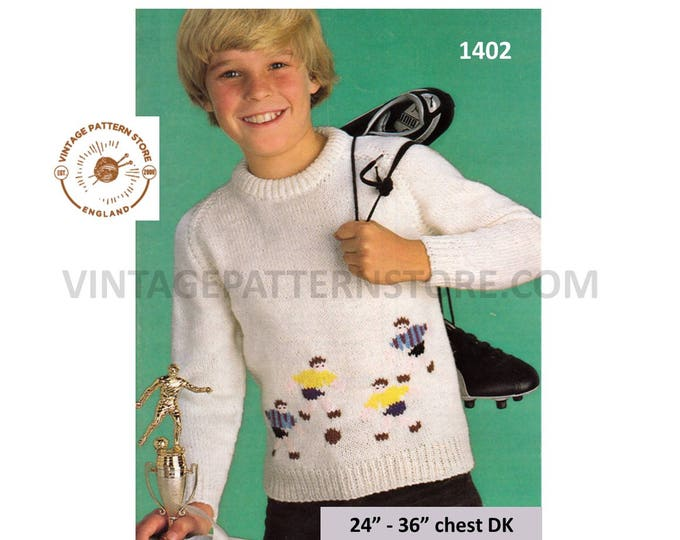 """Childs Boys 70s vintage round neck football motif intarsia DK sweater jumper pullover pdf knitting pattern 24"""" to 36"""" chest Download 1402"""