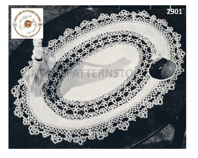 """50s vintage tatted lace inset and lacy edge edging oval linen doily doilies table mat pdf tatting pattern 19"""" by 13"""" Instant Download 2901"""
